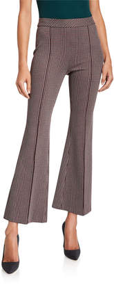 Rosetta Getty Plaid Pull-On Cropped Flare Pants