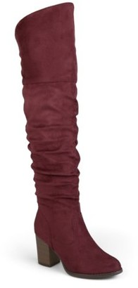 Brinley Co. Women's Extra Wide Calf Ruched Stacked Heel Faux Suede Over-the-knee Boots