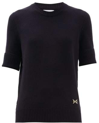 Barrie Ribbed Cuff Logo Plaque Cashmere Sweater - Womens - Dark Navy