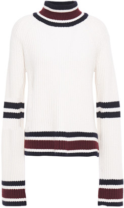 Autumn Cashmere Striped Ribbed-knit Turtleneck Sweater