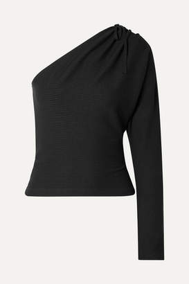 The Range - Alloy One-shoulder Ribbed Stretch-knit Top - Black