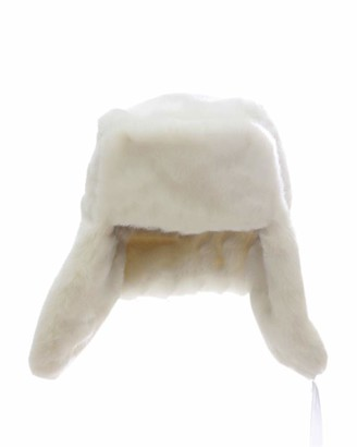 DianShaoA Faux Fur Bomber Trapper Hat for Womens Warm Russian Earflaps Hat White L
