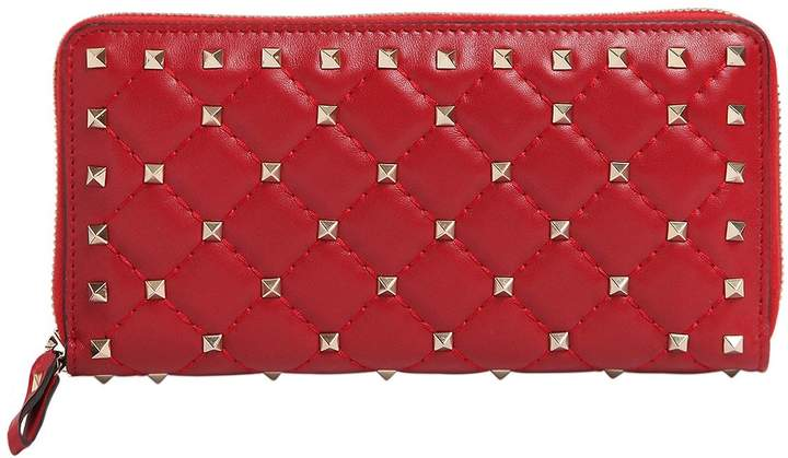 Valentino Spike Leather Zip Around Wallet