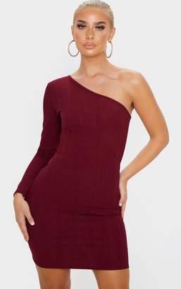 PrettyLittleThing Burgundy One Shoulder Bandage Rib Bodycon Dress