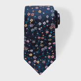 Paul Smith Men's Navy And Pink Embroidered Floral Silk Tie