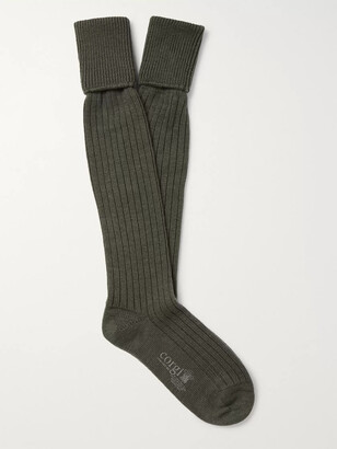 Kingsman Ribbed Wool And Cotton-Blend Socks