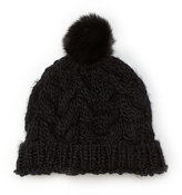 Surell Knit Hat with Real Fur Pom Pom