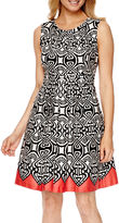 Robbie Bee Sleeveless Abstract Print Fit-and-Flare Dress