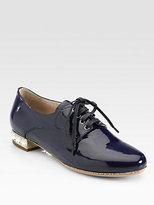 Miu Miu Patent Leather Jeweled Heel Lace-Up Oxfords