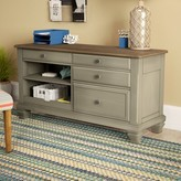 Beachcrest Home Mason Solid Wood Credenza Desk Color: Beige