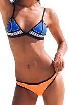 Ebuddy Hand Sewn Crochet Blanket Stitch Women Neoprene Bikini Top Bottom Set Swimwear,-M