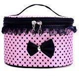 DZT1968® Handle Large Cosmetic Bag Travel Makeup Organizer Case Holder (Pink)