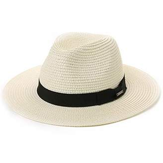 Jeff & Aimy Mens Womens Straw Fedora Trilby Sun Hats UPF Wide Brim Foldable Summer Panama Safari Beach Sunhats Adjustable 58CM White