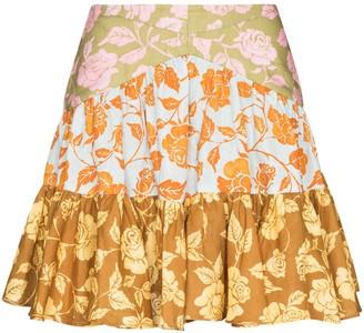 Zimmermann Lovestruck rose-print tiered mini skirt