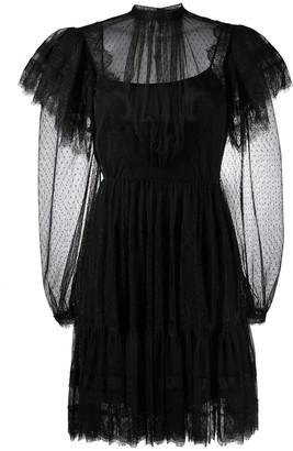 Alberta Ferretti Sheer-Panelled Ruffle Dress