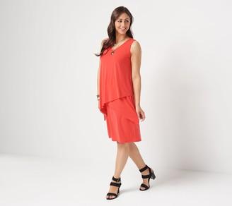 Susan Graver Petite Liquid Knit Sleeveless Tiered Dress