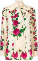 Gucci rose print pussybow blouse