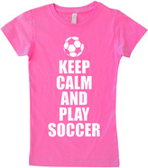 Micro Me Pink 'Keep Calm And Play Soccer' Fitted Tee - Infant Toddler & Girls