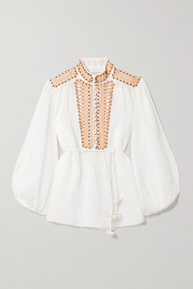 Zimmermann Brighton Embellished Embroidered Ramie Blouse - White