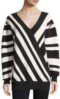 Jason Wu GREY Ribbed Striped V-Neck Pullover
