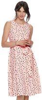 Elle Women's ELLETM Pleated Polka-Dot A-Line Dress
