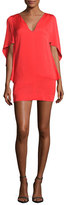 Milly Beetle Stretch-Silk Slim Minidress, Red