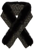Moncler Fur-trimmed wool-blend scarf