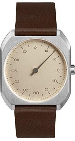 Slow Mo 08 - Dark Brown Leather Silver Case Creme Dial Unisex Quartz Watch with Beige Dial Analogue Display and Dark Brown Leather Strap