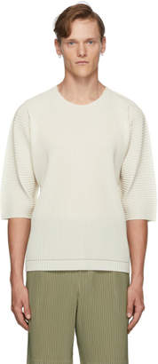 Issey Miyake Homme Plisse Off-White A-Poc Pleats Three-Quarter Sleeve T-Shirt