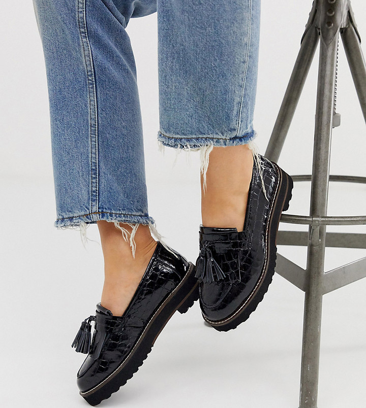 ASOS DESIGN Wide Fit Meze chunky fringed leather loafers in black
