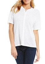 Eileen Fisher Mandarin Collar Short Sleeve Shirt