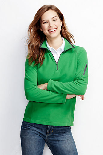 Lands' End Women's Regular Textured Fleece Half-zip Pullover