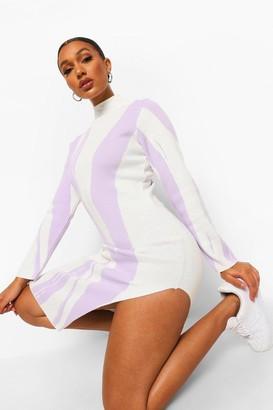 boohoo Zebra Print High Neck Rib Knit Midi Dress
