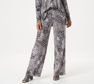 Halston H by Petite Jet Set Jersey Animal Printed Pull-On Wide-Leg Pants