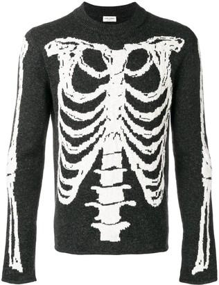 Saint Laurent skeleton intarsia knit sweater