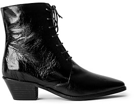 Zadig & Voltaire Women's Tyler Pointed Toe Vintage Look Patent Leather Ankle Boots