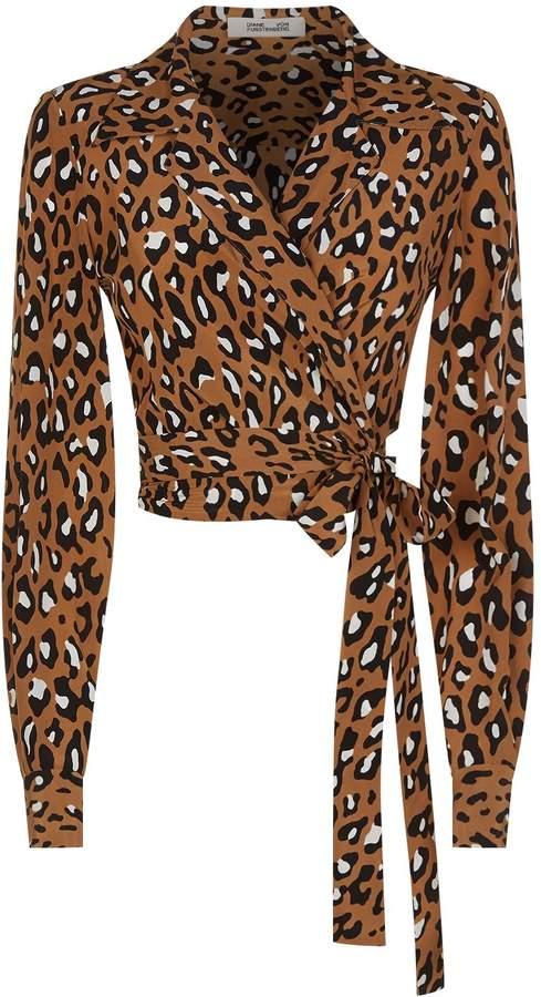 Diane von Furstenberg Leopard Print Wrap Blouse