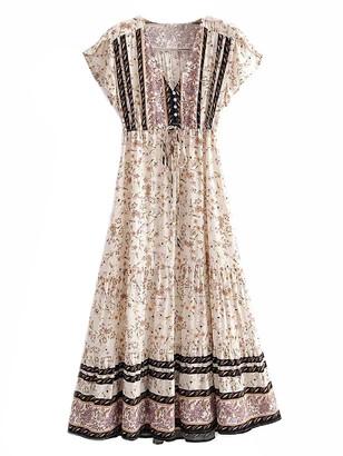 Goodnight Macaroon 'Dakota' Bohemian Floral Print V-neck Maxi Dress