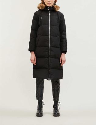 Claudie Pierlot Faux fur-trim hooded shell-down parka coat