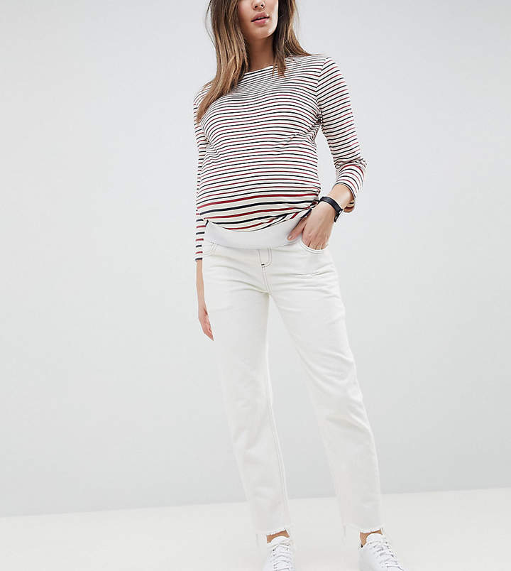 Asos Design Maternity Florence Authentic Straight Leg Jeans In White With Contrast Stitch With Under The Bump Waistband