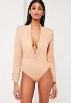 Missguided Nude Plunge Wrap Long Sleeve Bodysuit