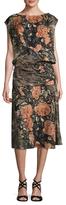 Tracy Reese Silk Printed Draped Midi Dress