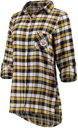 Women's Concepts Sport Black/Gold Pittsburgh Steelers Piedmont Flannel Button-Up Long Sleeve Shirt