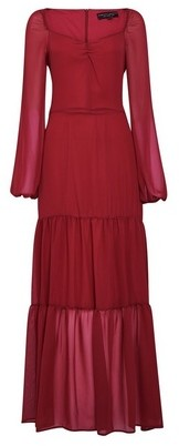 Dorothy Perkins Womens Berry Red Tiered Puff Sleeve Maxi Dress, Red