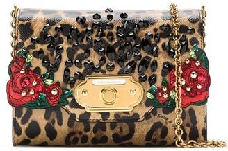 Dolce & Gabbana Embellished Leopard Print Crossbody Bag