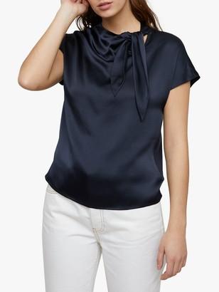 Jigsaw Silk Front Tie Neck Jersey Silk Front Blouse