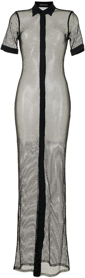 Thumbnail for your product : David Koma Crystal-Embellished Mesh Shirt Dress