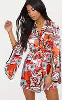 PrettyLittleThing Orange Floral Satin Flare Sleeve Binding Detail Blazer Dress