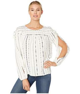 Wrangler Western Fashion Shirt Long Sleeve Aztec Print Sheer (Ivory) Women's Blouse