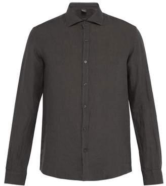 Once Milano - Crushed Linen Shirt - Mens - Dark Grey